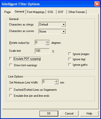 PDF FLY general options