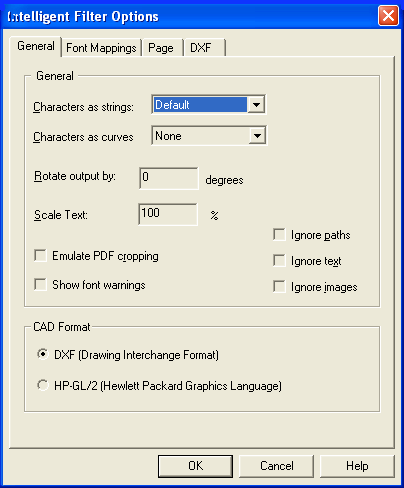 pdf2cad General Options