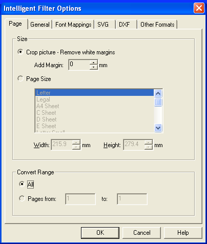 PDF FLY page options