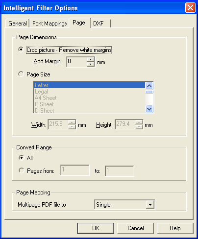 pdf2cad Page Options