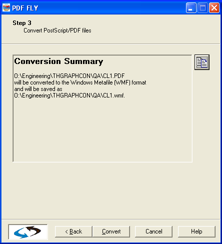 PDF FLY conversion summary