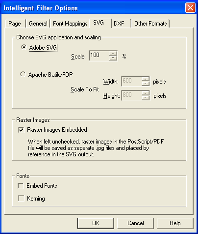 PDF FLY SVG options