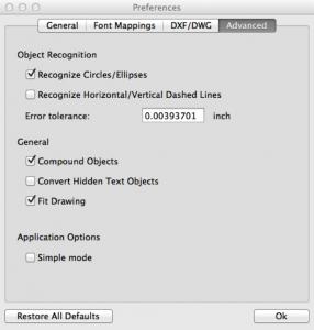 Advanced Options pdf2cad