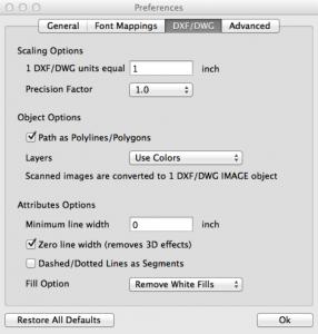 DWG DXF Options pdf2cad