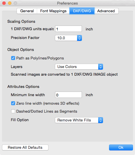 pdf2cad mac dwg dxf conversion options