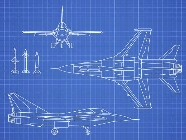 cad drawing of airplane on blue background