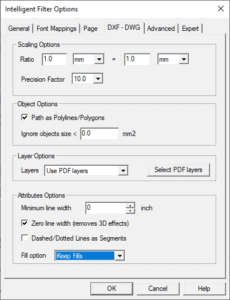 dwg dxf options
