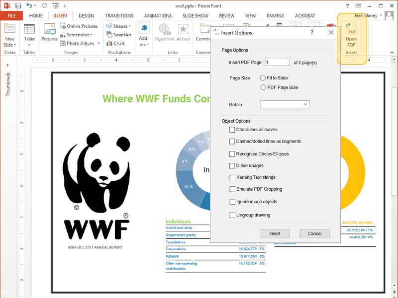 Insert PDF for PowerPoint full screenshot
