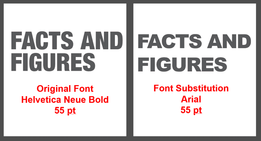 Example of Font mapping. Close but could be improved by replacing the font with something closer.
